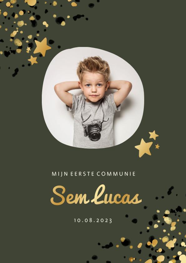 Communiekaarten - Communiekaart groen met foto, gouden sterren en spetters