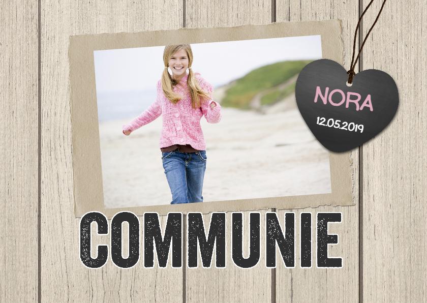 Communiekaarten - Communiekaart hout hartje