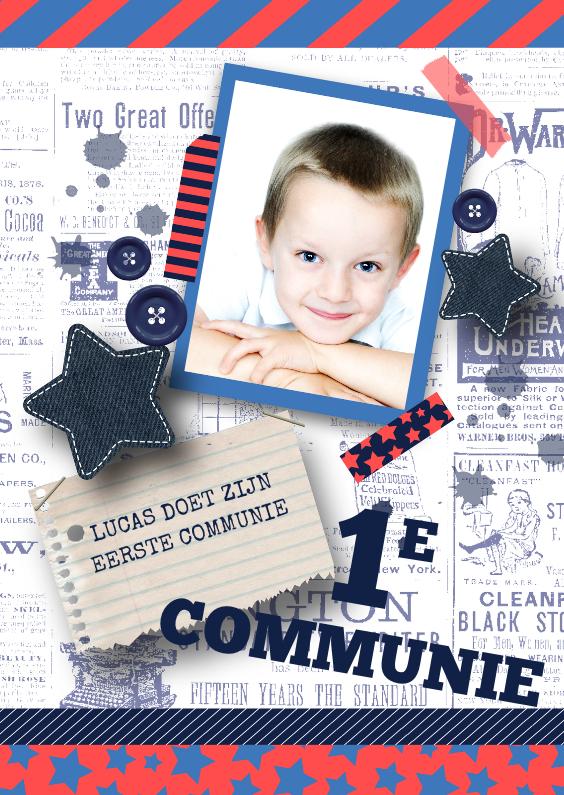 Communiekaarten - Communiekaart jongen stoer sterren foto