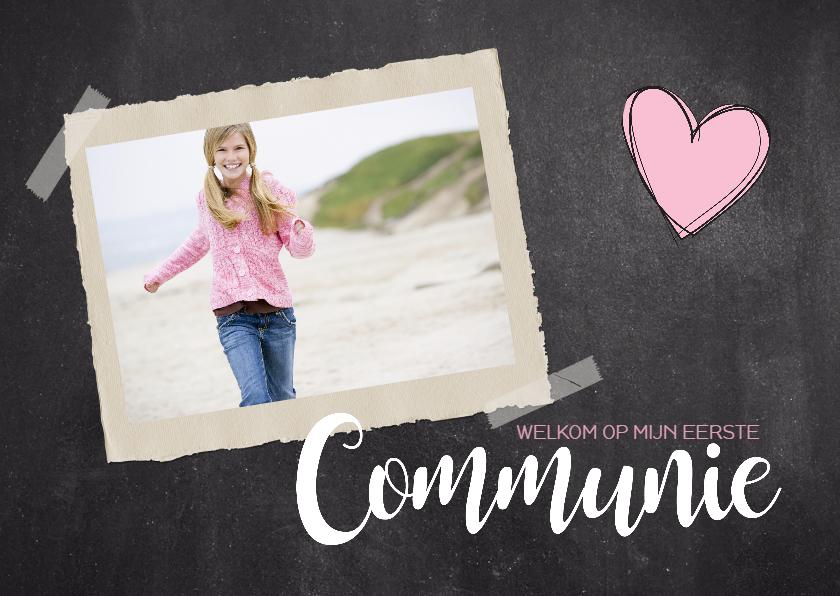 Communiekaarten - Communiekaart krijt foto meisje