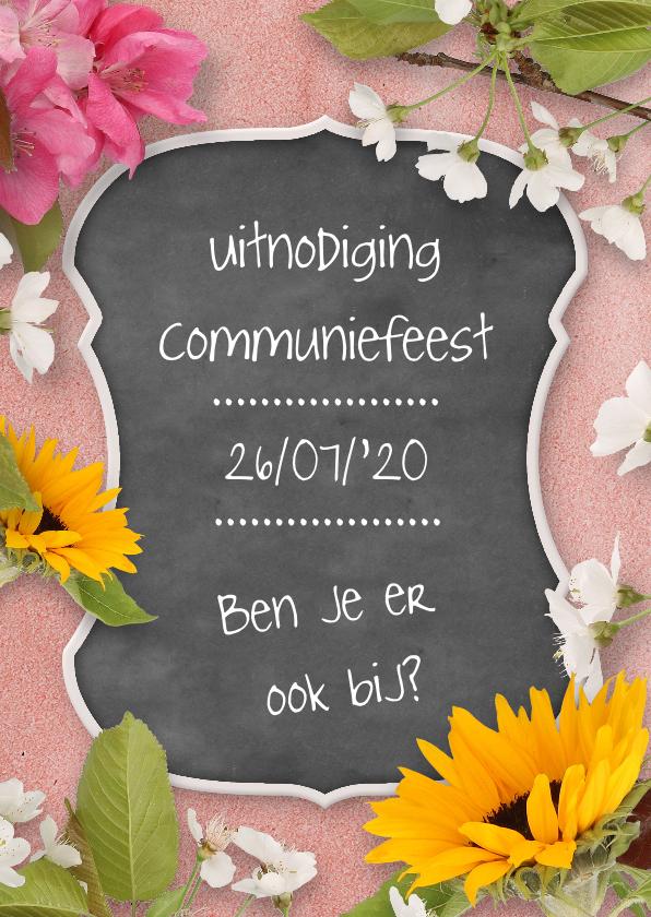 Communiekaarten - Communiekaart krijtbord en bloemen