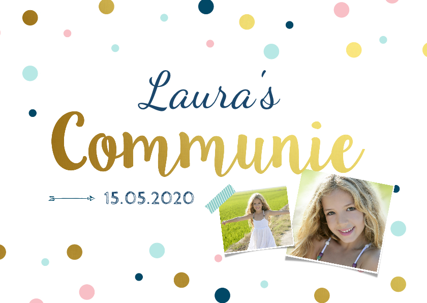 Communiekaarten - Communiekaart meisje confetti
