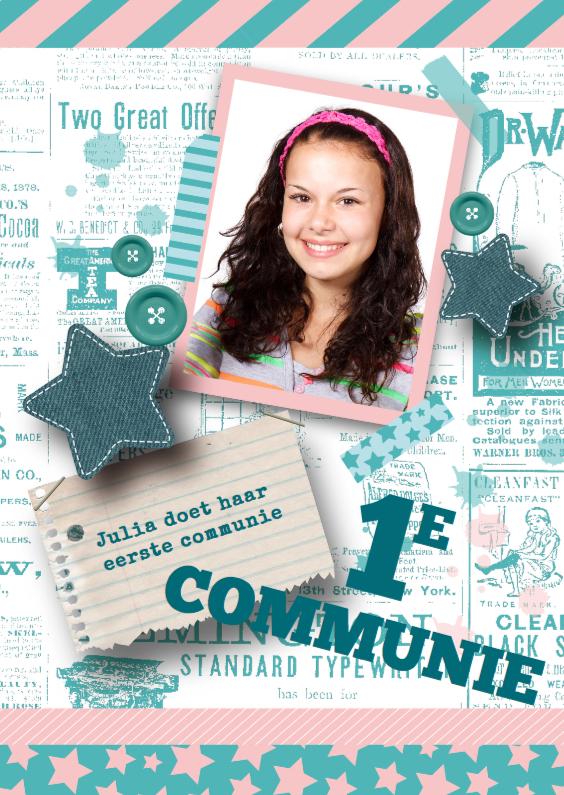 Communiekaarten - Communiekaart meisje sterren stoer foto