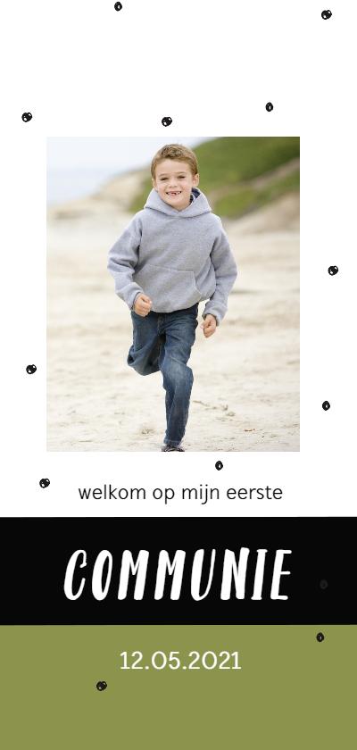 Communiekaarten - Communiekaart met confetti en eigen foto