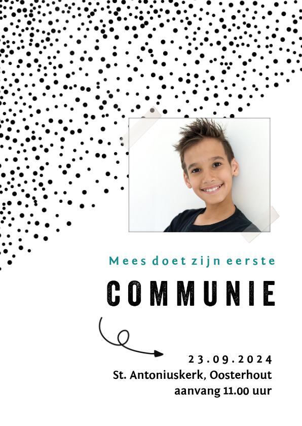 Communiekaarten - Communiekaart met foto en kleine zwarte stipjes