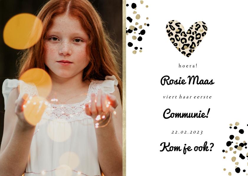 Communiekaarten - Communiekaart met foto en panterprint hartje