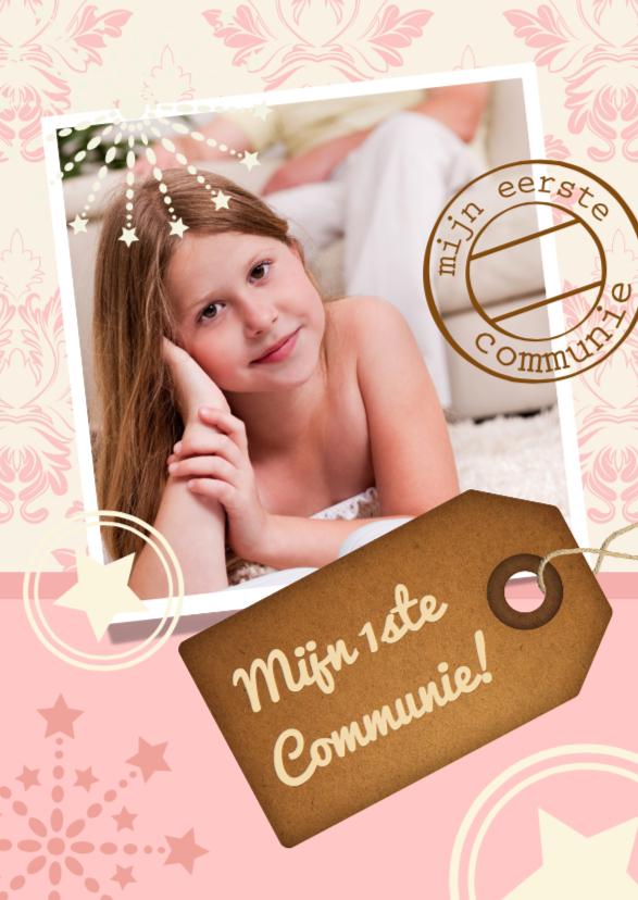 Communiekaarten - Communiekaart roze Label Stempel