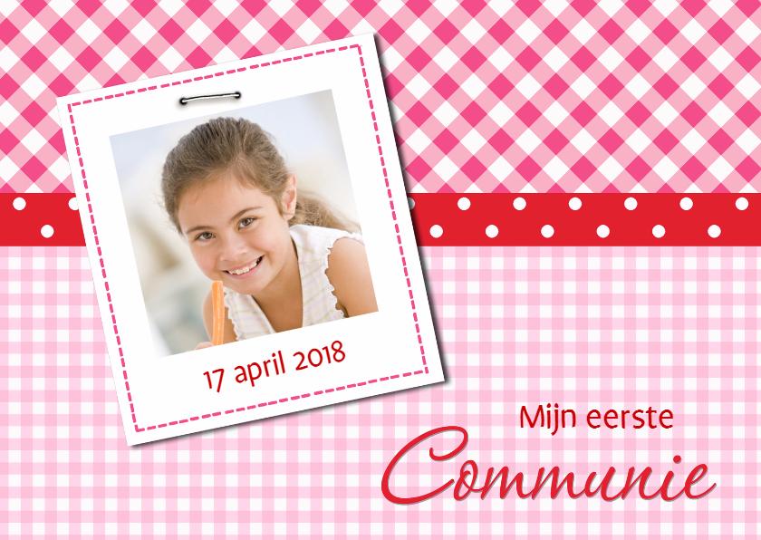 Communiekaarten - Communiekaart roze-rood met foto