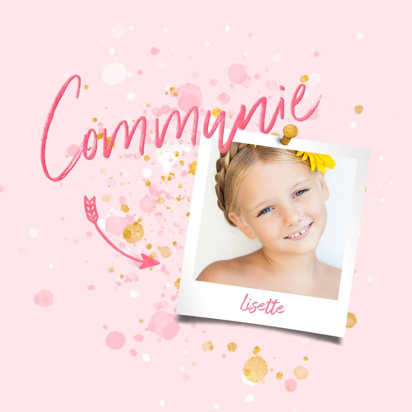 Communiekaarten - Communiekaart spetters goud roze met foto