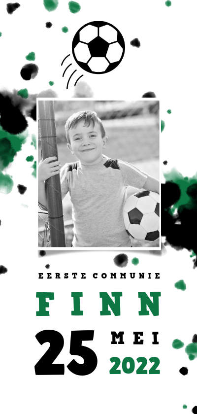 Communiekaarten - Communiekaart voetbal met foto en spetters