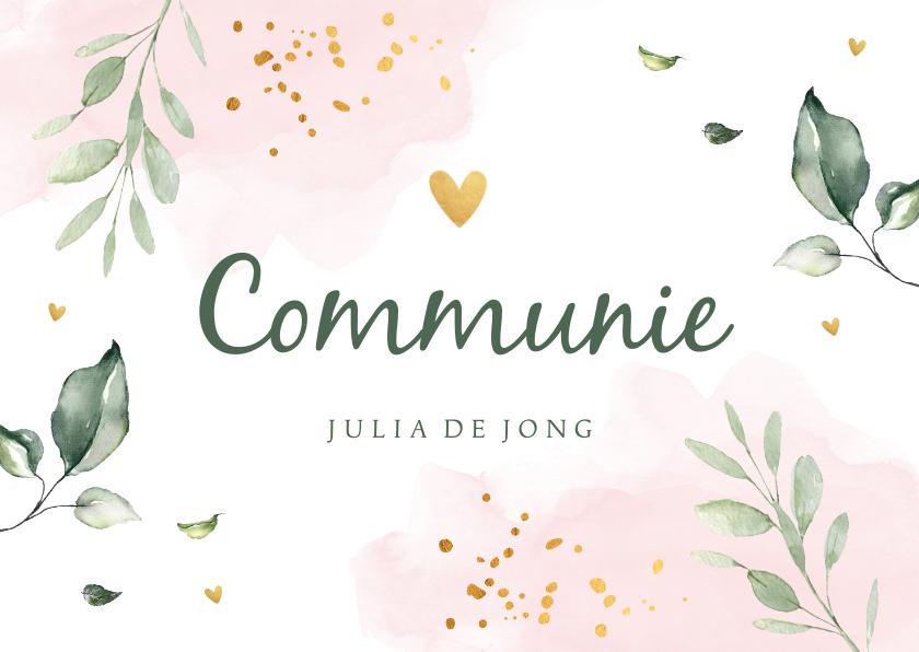 Communiekaarten - Communiekaart waterverf roze bladeren goudlook