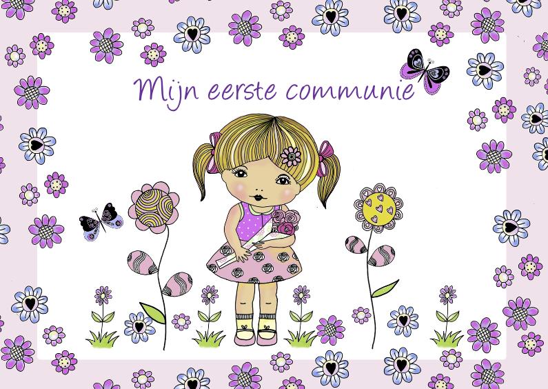 Communiekaarten - communiekaartje met meisje bloemen