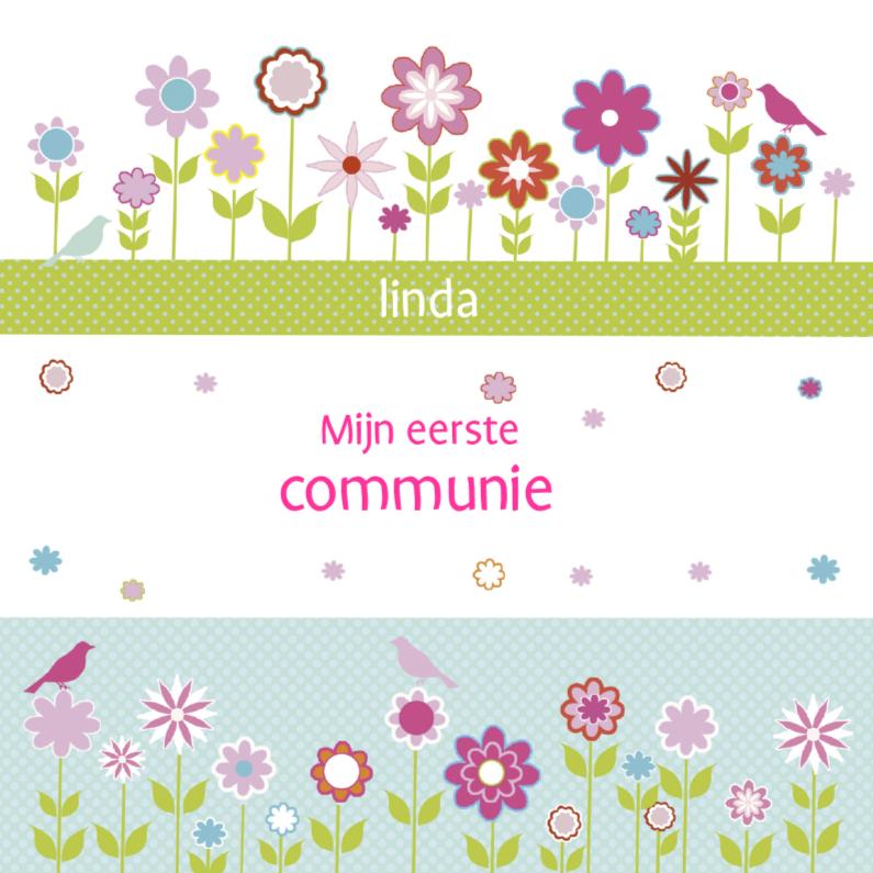 Communiekaarten - eerste communie met bloemetjes en vogels
