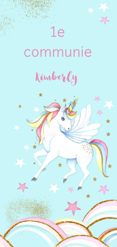 Communiekaarten - Eerste communie unicorn