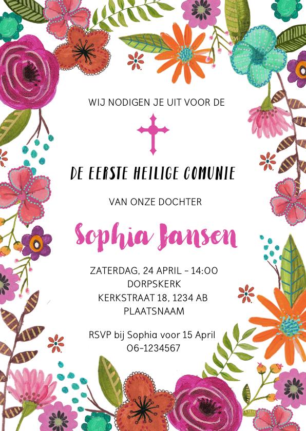 Communiekaarten - Eerste Heilige Communie uitnodiging met bloemen