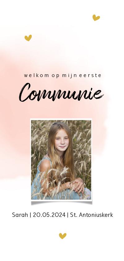 Communiekaarten - Enkele communiekaart met roze waterverf en hartjes