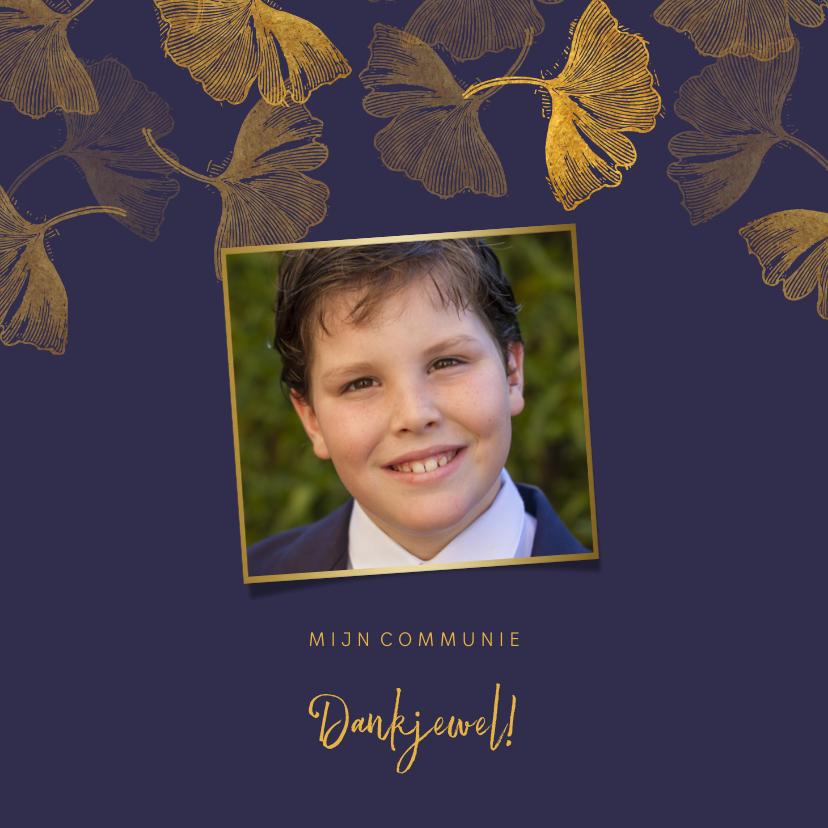 Communiekaarten - Foto bedankkaart communie ginkgo blauw