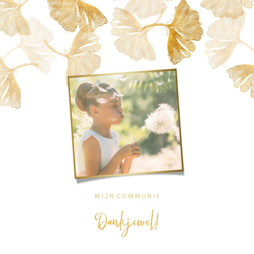 Communiekaarten - Foto bedankkaart communie ginkgo wit