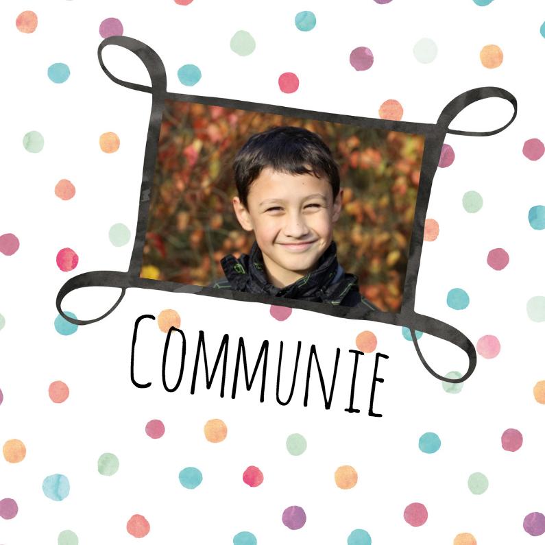 Communiekaarten - Fotokaart communie met stippen