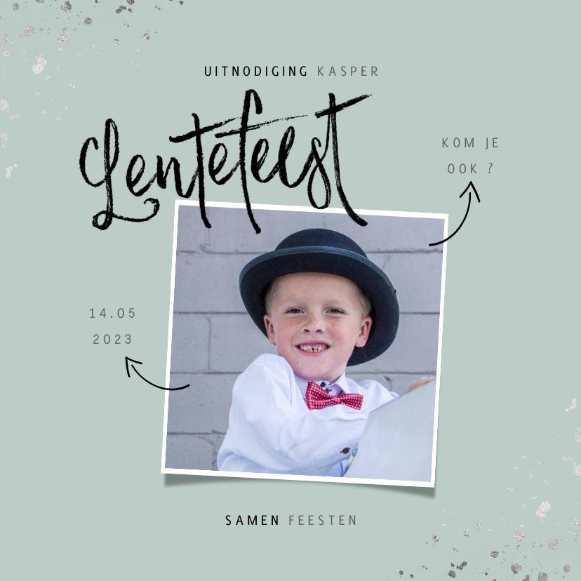 Communiekaarten - Lentefeest uitnodiging hip met foto en zilveren spetters