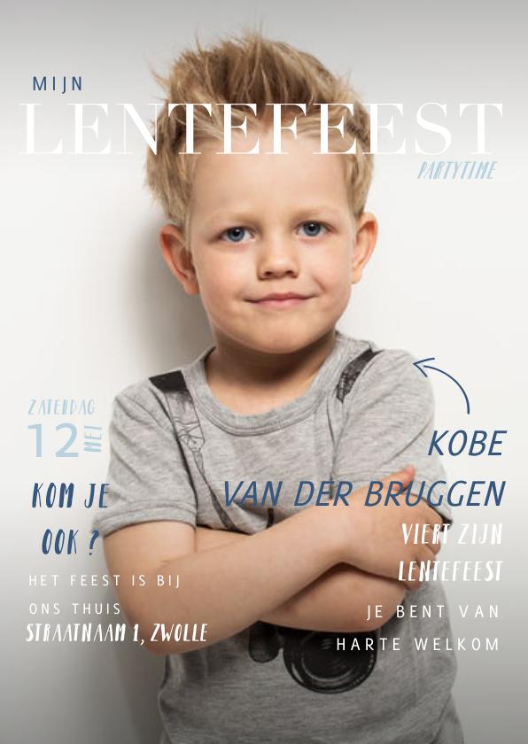 Communiekaarten - Lentefeest uitnodiging in magazine stijl met foto en teksten