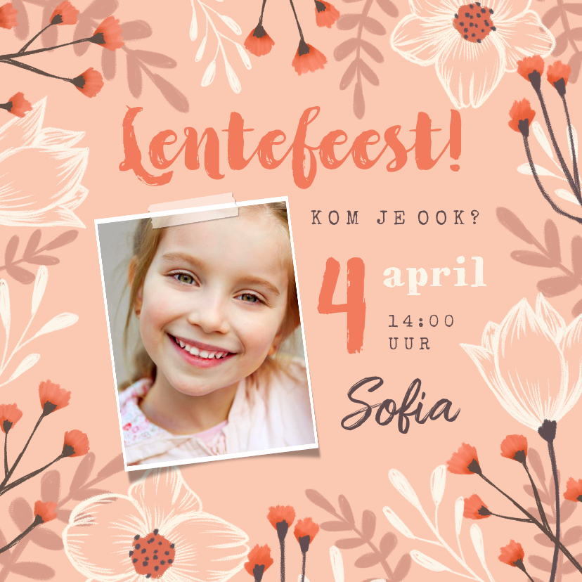 Communiekaarten - Lentefeest uitnodiging meisje bloemen foto