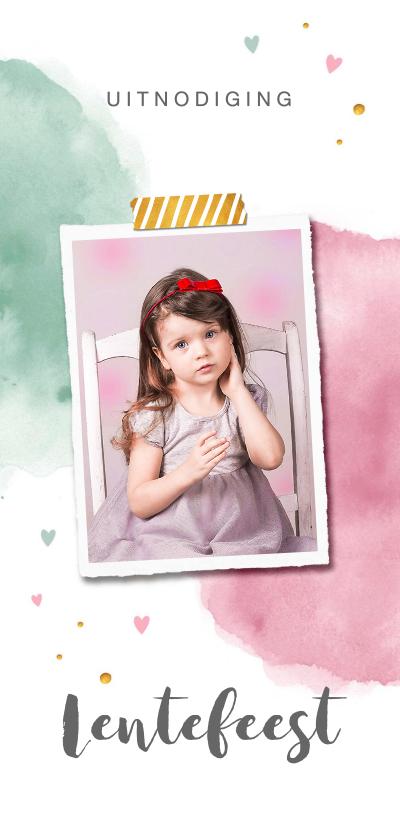Communiekaarten - Lentefeest uitnodiging met waterverf en hartjes