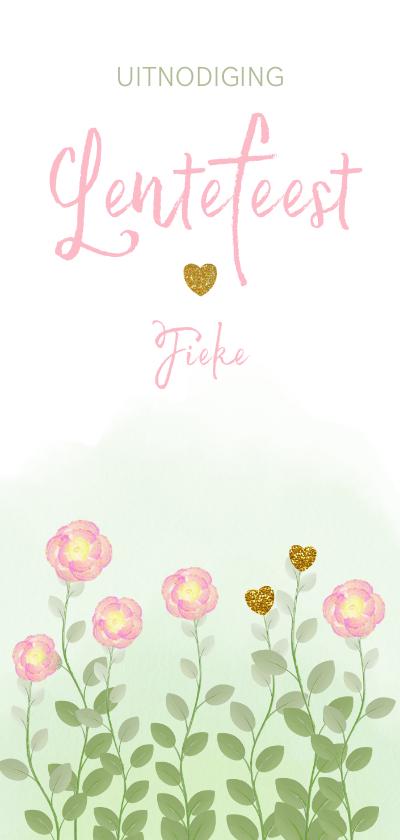 Communiekaarten - Lentefeest uitnodiging waterverf bloemen en hartjes