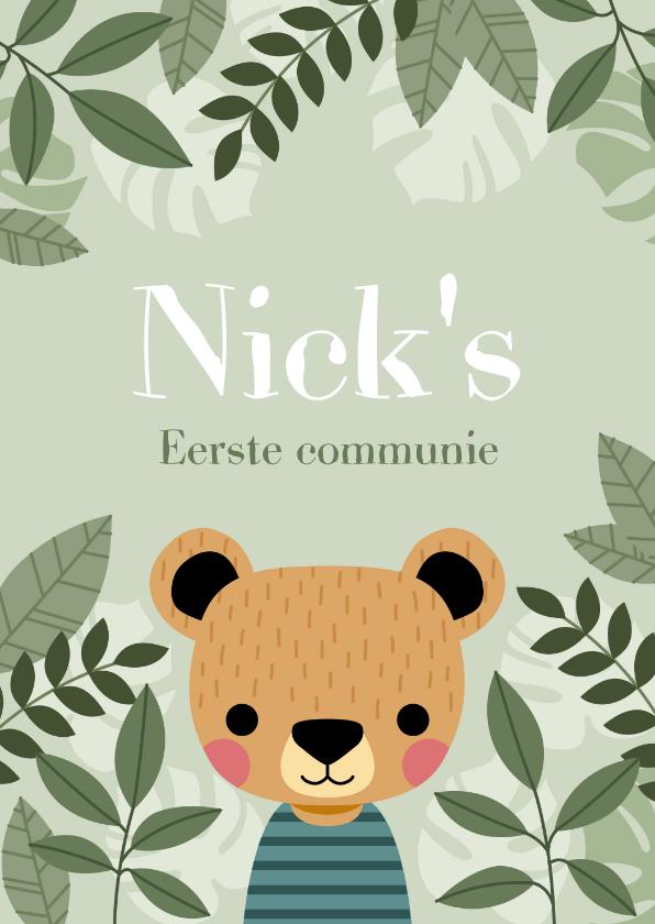 Communiekaarten - Leuke uitnodiging eerste communie met beer en plantjes