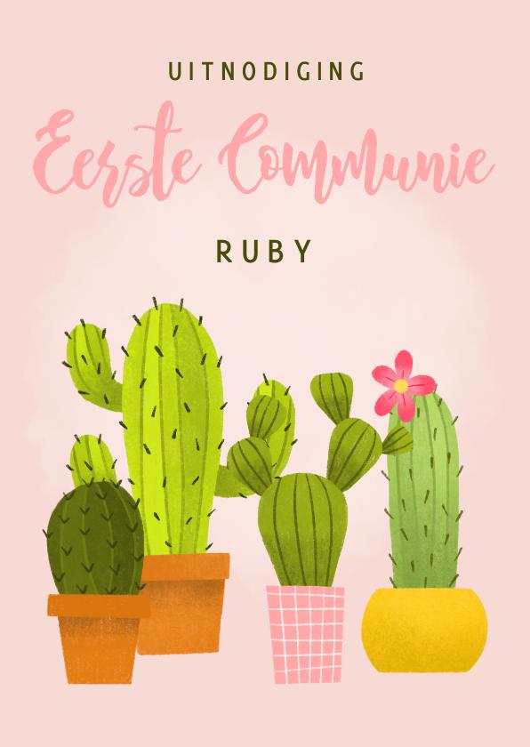 Communiekaarten - Leuke uitnodiging eerste communie met cactussen en waterverf