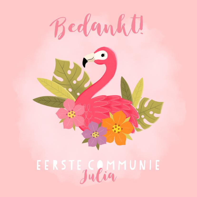 Communiekaarten - Lieve bedankkaart communie met flamingo, plantjes en bloemen