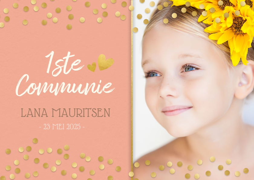 Communiekaarten - Lieve stijlvolle communiekaart meisje met gouden confetti