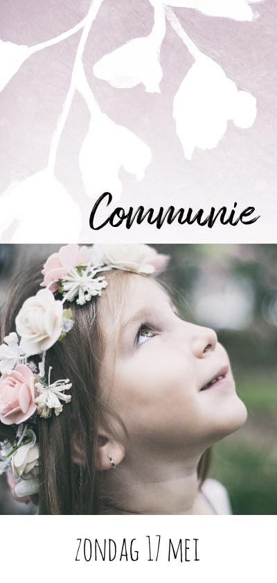 Communiekaarten - Lieve, stijlvolle communiekaart voor meisje met bloemen