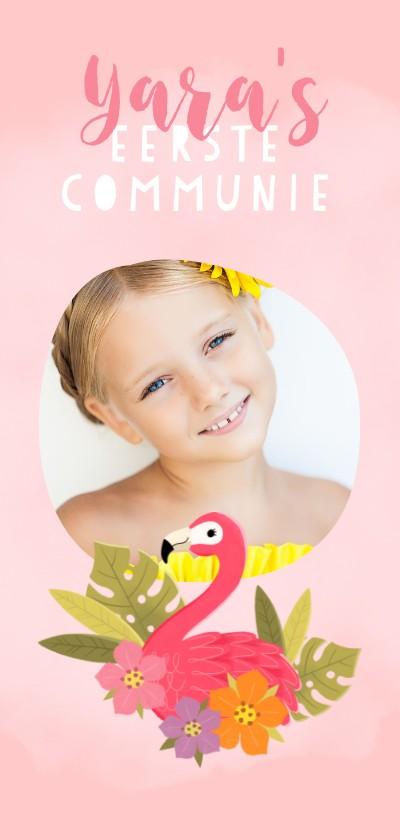 Communiekaarten - Lieve uitnodiging eerste communie met flamingo en plantjes