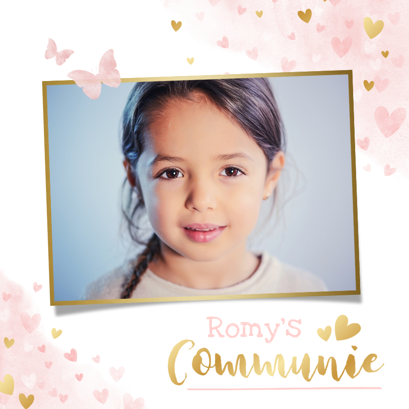 Communiekaarten - Lieve uitnodiging voor een meisjes communie vlinders hartje
