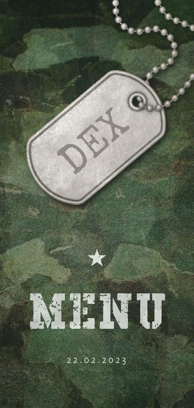 Communiekaarten - Menukaart communie army stoer met foto en legerplaatje
