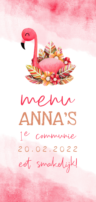 Communiekaarten - Menukaart communie flamingo met waterverf
