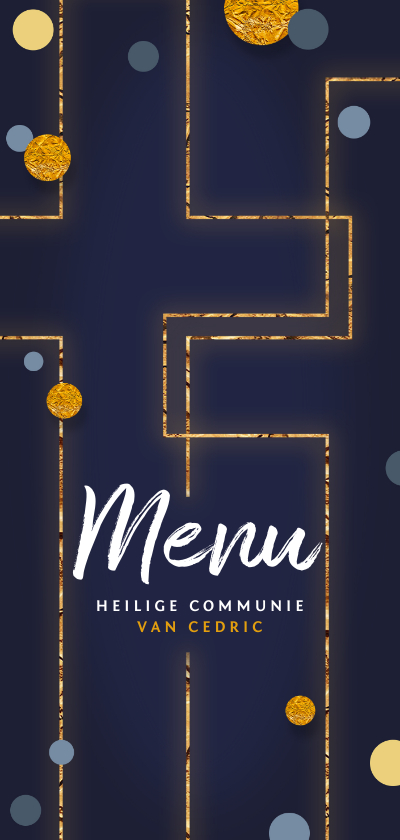 Communiekaarten - Menukaart communie goud kruis confetti