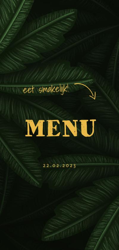 Communiekaarten - Menukaart communie jungle bladeren met pijltjes