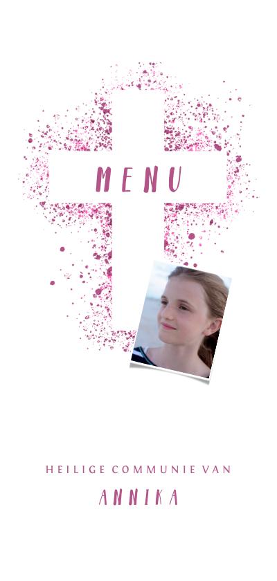 Communiekaarten - Menukaart communie kruis & foto verfspetters roze