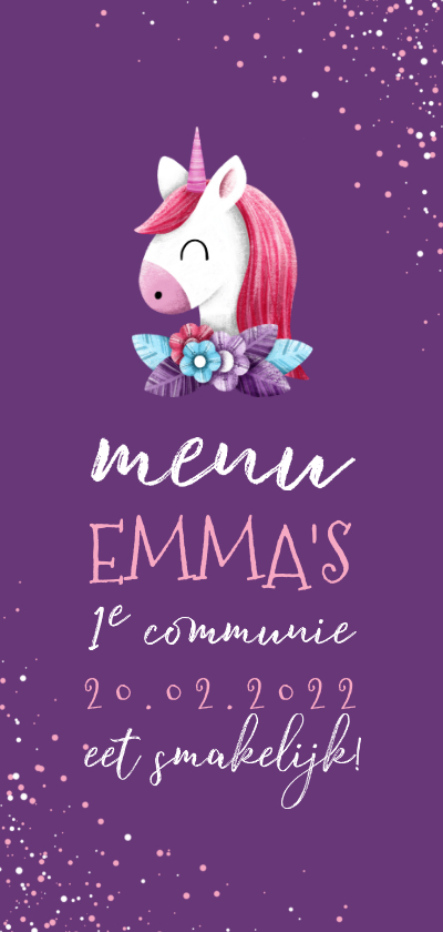 Communiekaarten - Menukaart communie met unicorn en confetti