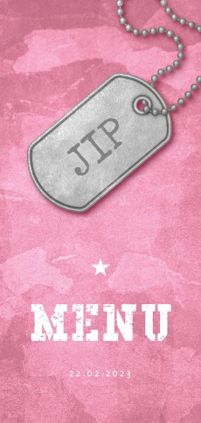 Communiekaarten - Menukaart communie roze stoer met foto en legerplaatje