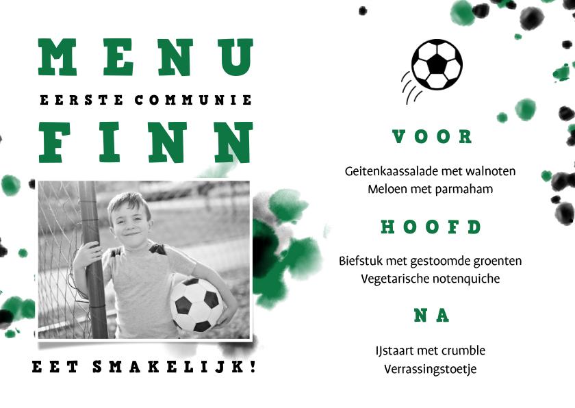 Communiekaarten - Menukaart communie voetbal met foto en spetters