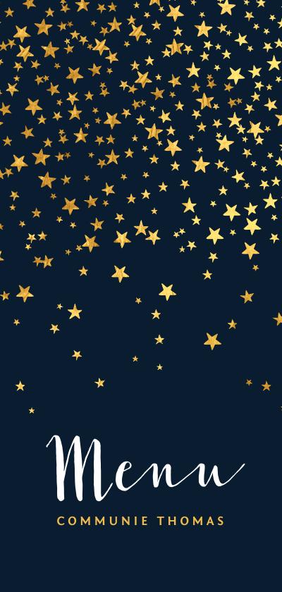 Communiekaarten - Menukaart communiefeest sterren goudlook blauw