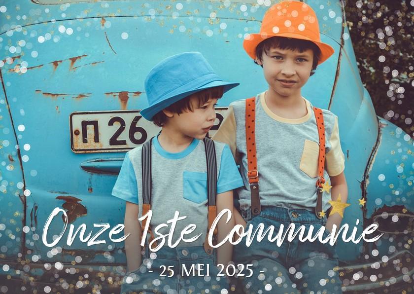 Communiekaarten - Moderne communie uitnodiging fotokaart voor 2 personen