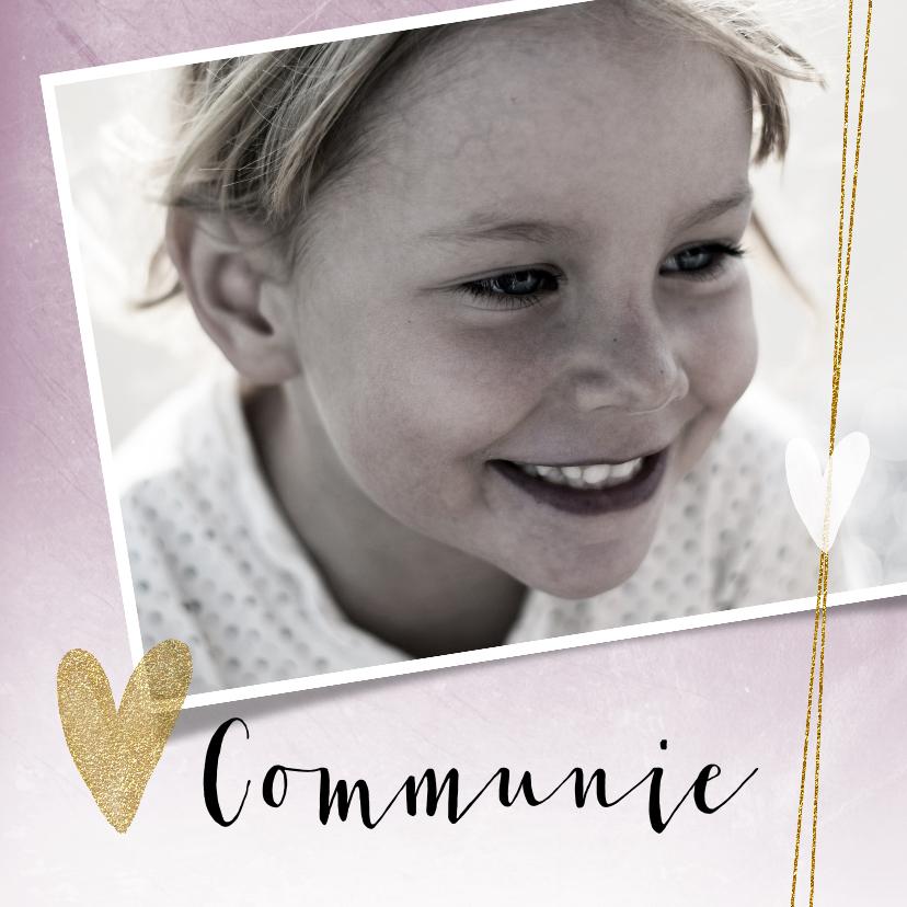 Communiekaarten - Mooie, stijlvolle communiekaart met foto en hartjes