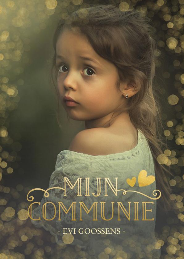 Communiekaarten - Stijlvolle communie uitnodigingskaart met gouden accenten