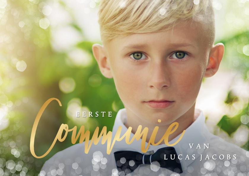 Communiekaarten - Stijlvolle uitnodiging communie met foto voor een jongen