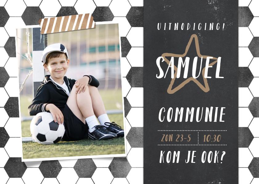Communiekaarten - Stoere voetbal communie uitnodiging jongen met foto