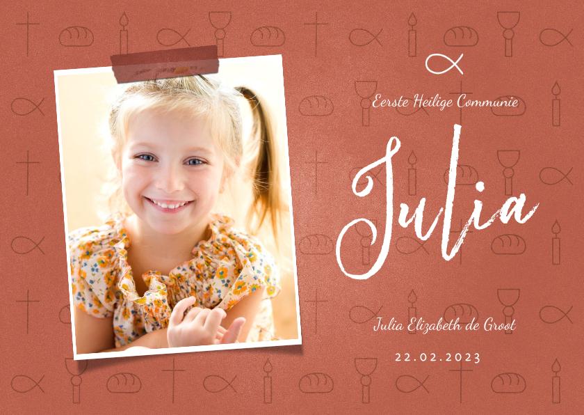 Communiekaarten - Uitnodiging communie christelijke symbolen met foto meisje